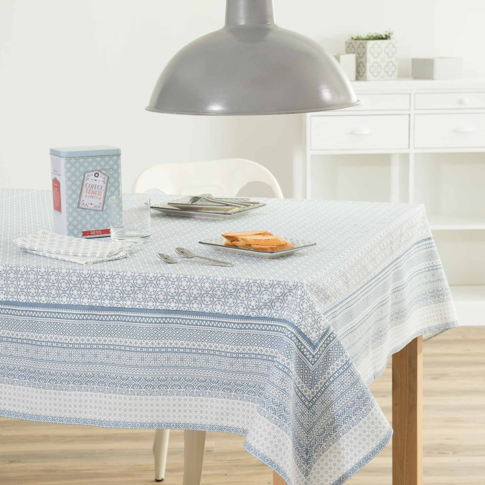 nappe en coton bleue 170 x 310 cm fjord maisons du monde. Black Bedroom Furniture Sets. Home Design Ideas