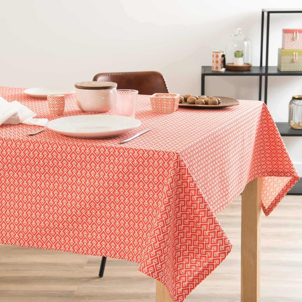 nappe en coton corail motifs blancs 150x250cm coral bay maisons du monde. Black Bedroom Furniture Sets. Home Design Ideas