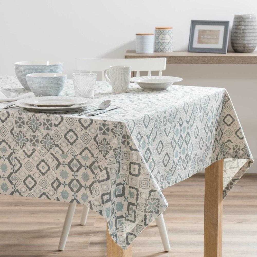 nappe en coton gris motifs 150x250 maisons du monde. Black Bedroom Furniture Sets. Home Design Ideas