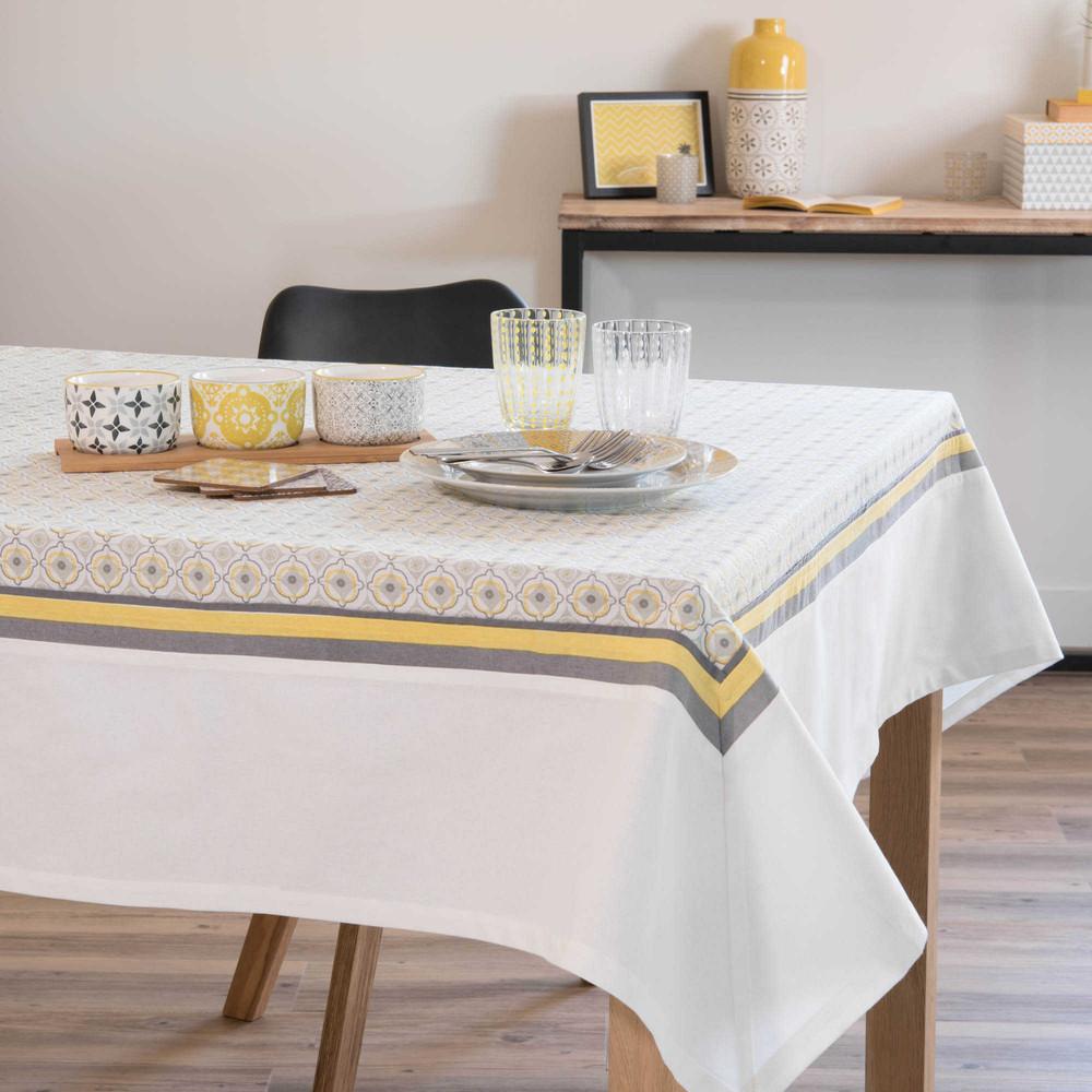 nappe en coton gris jaune 150 x 250 cm oeiras maisons du monde. Black Bedroom Furniture Sets. Home Design Ideas
