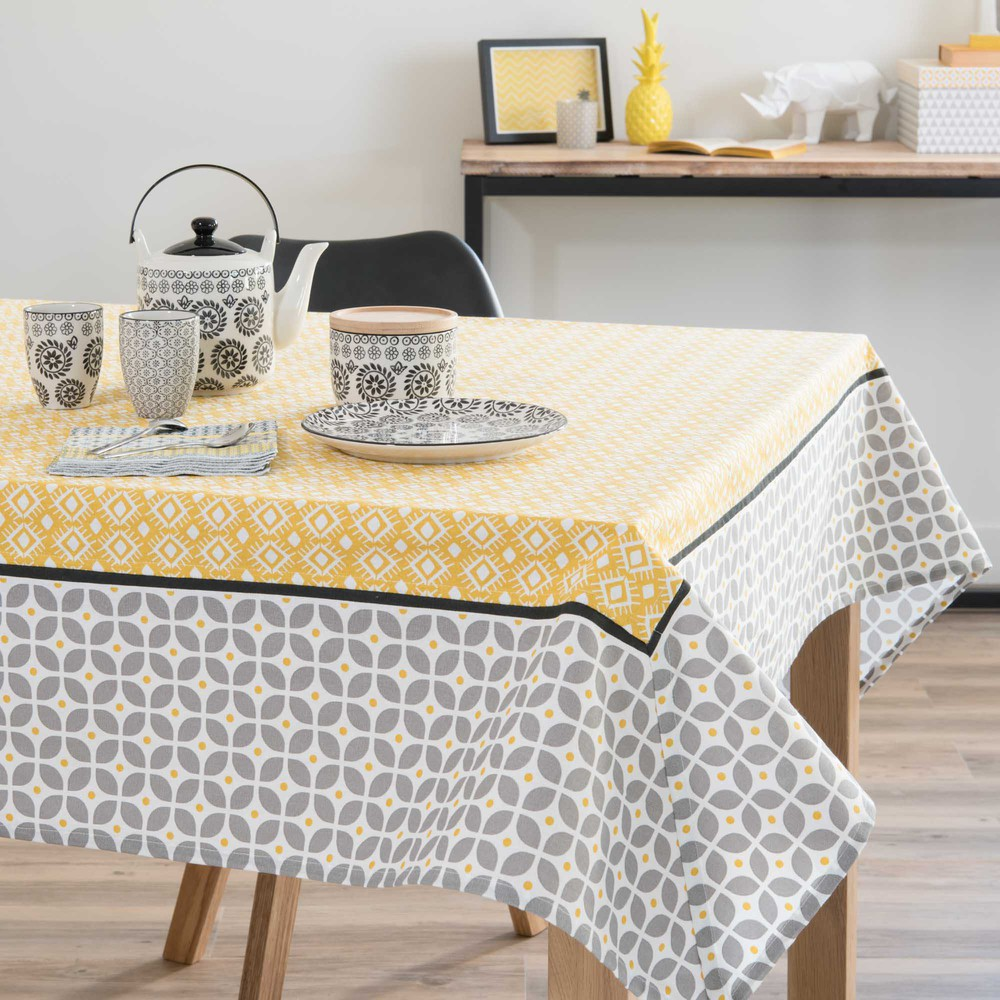 nappe en coton grise jaune 150 x 250 cm sunny maisons du monde. Black Bedroom Furniture Sets. Home Design Ideas