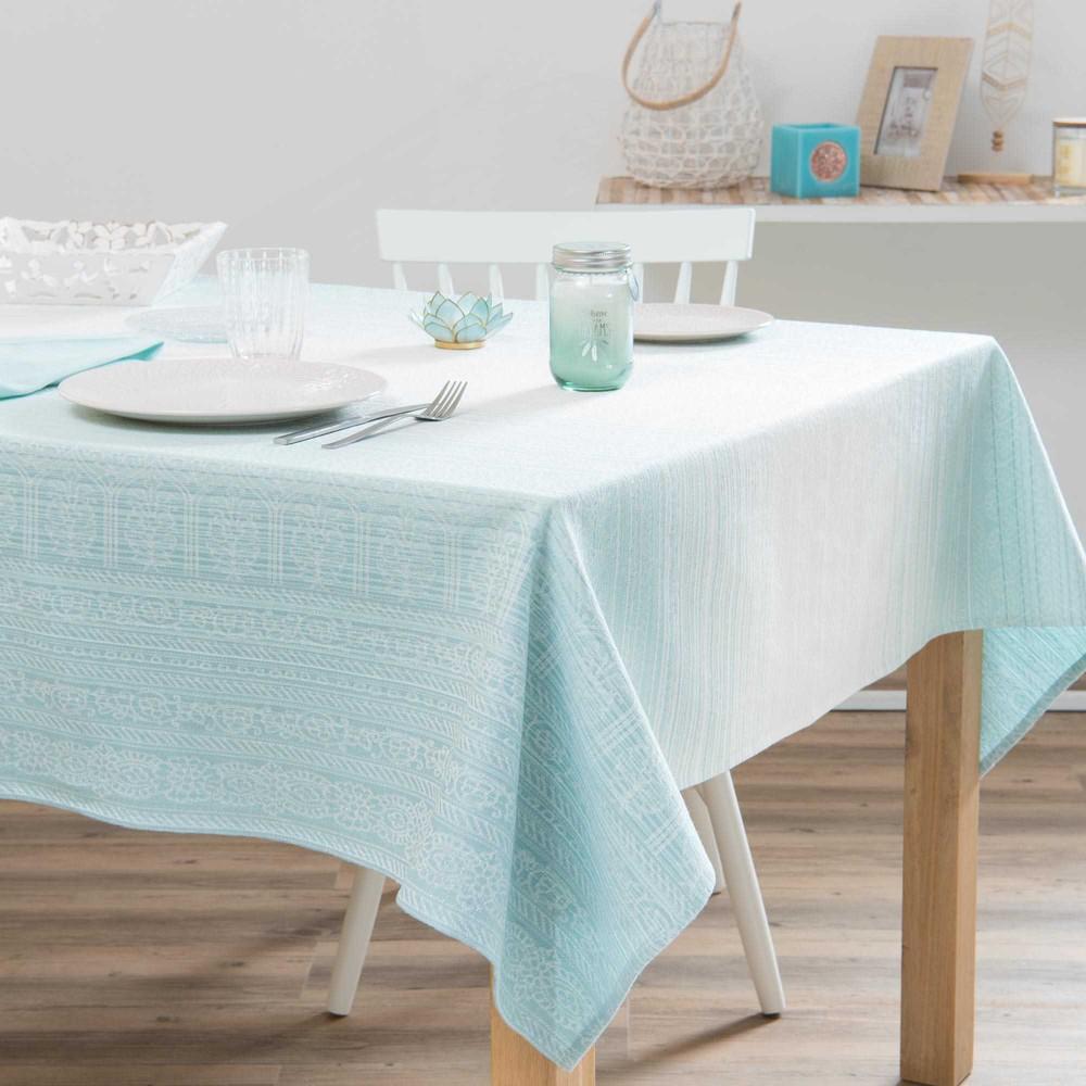 Nappe en coton imprim bleu et blanc 150x250cm nirvana maisons du monde - Nappe en coton blanc ...