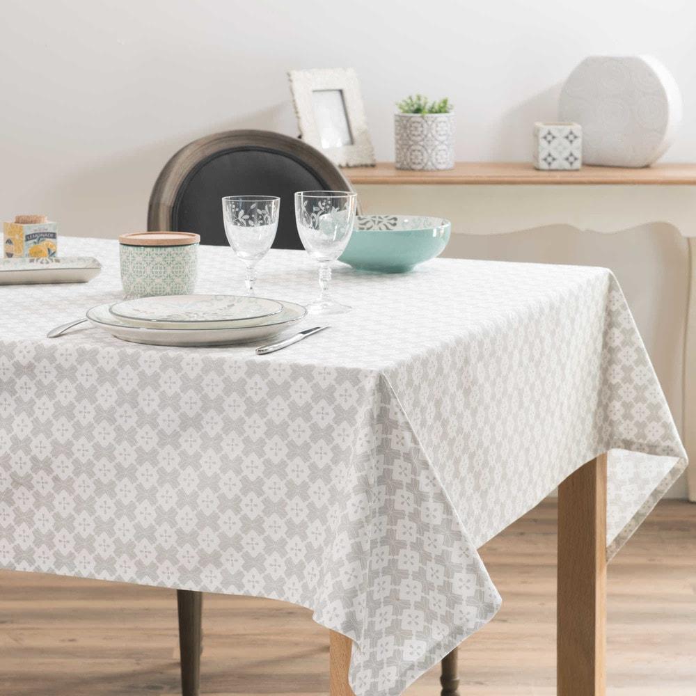 nappe en coton imprim gris et blanc 150x250cm millenium maisons du monde. Black Bedroom Furniture Sets. Home Design Ideas