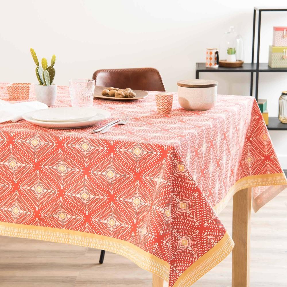 nappe en coton imprim rouge 150x250cm lares maisons du monde. Black Bedroom Furniture Sets. Home Design Ideas