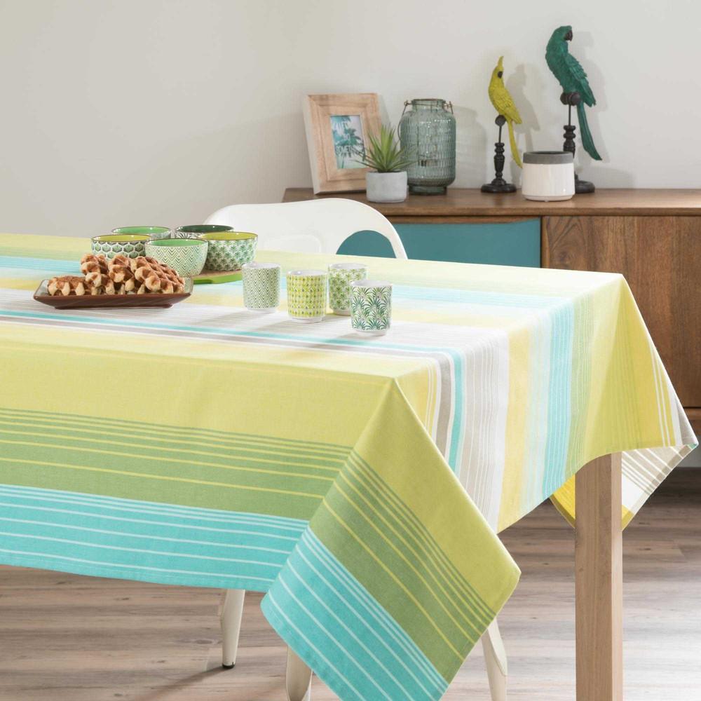 nappe en coton jaune bleu 150 x 350 cm mayajala maisons du monde. Black Bedroom Furniture Sets. Home Design Ideas