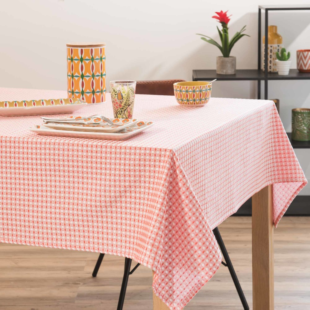 nappe en coton orange motifs 150x150cm aguadilla. Black Bedroom Furniture Sets. Home Design Ideas