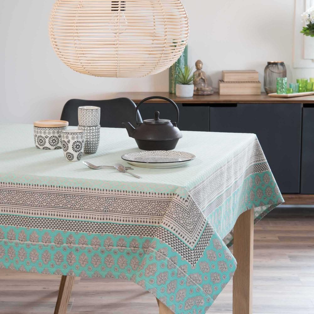 nappe en coton turquoise 150 x 250 cm dina maisons du monde. Black Bedroom Furniture Sets. Home Design Ideas
