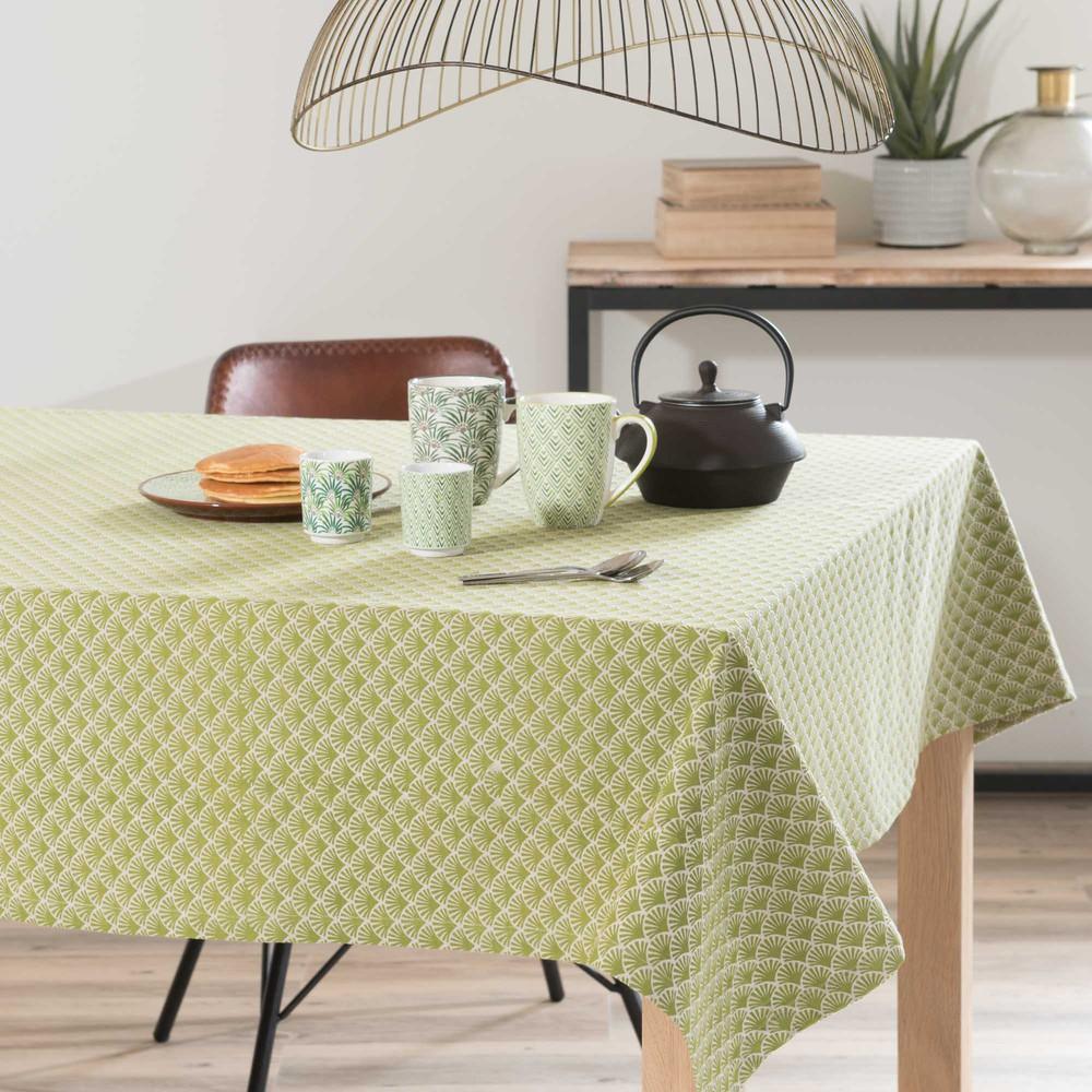 nappe en coton vert 150 x 250 cm ixora maisons du monde. Black Bedroom Furniture Sets. Home Design Ideas