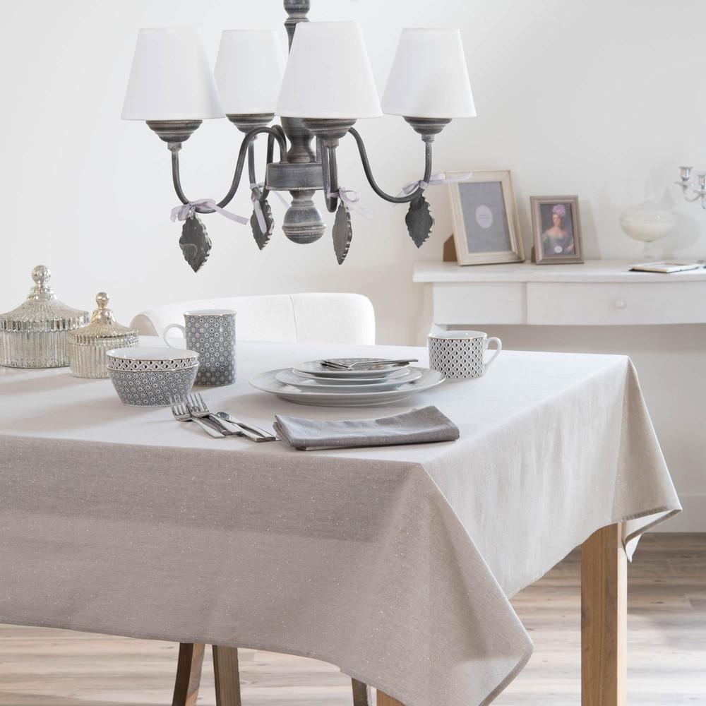 nappe en tissu grise 140 x 250 cm tincelle maisons du monde. Black Bedroom Furniture Sets. Home Design Ideas