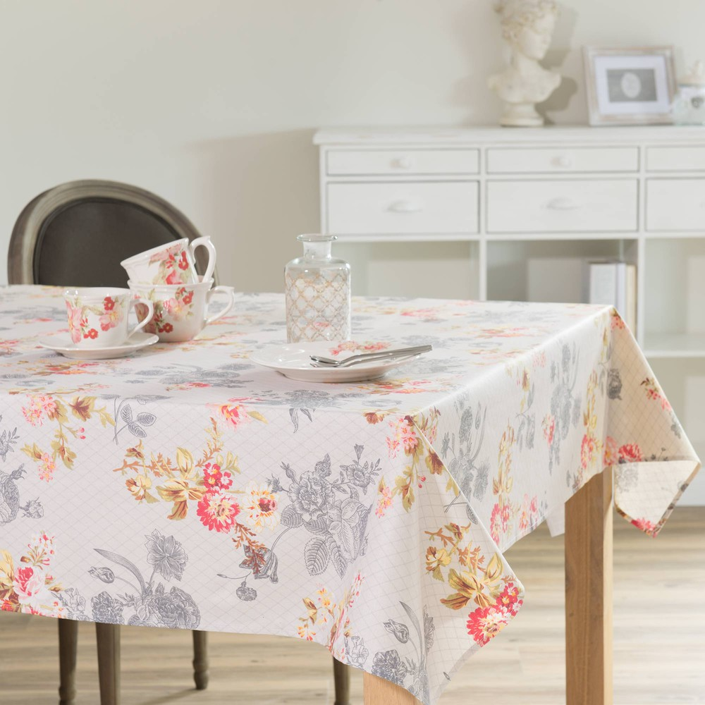 nappe enduite fleurs en lin 170 x 310 cm comtesse. Black Bedroom Furniture Sets. Home Design Ideas
