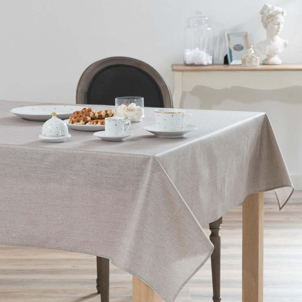 nappe enduite paillettes en lin beige 140x250 lux maisons du monde. Black Bedroom Furniture Sets. Home Design Ideas