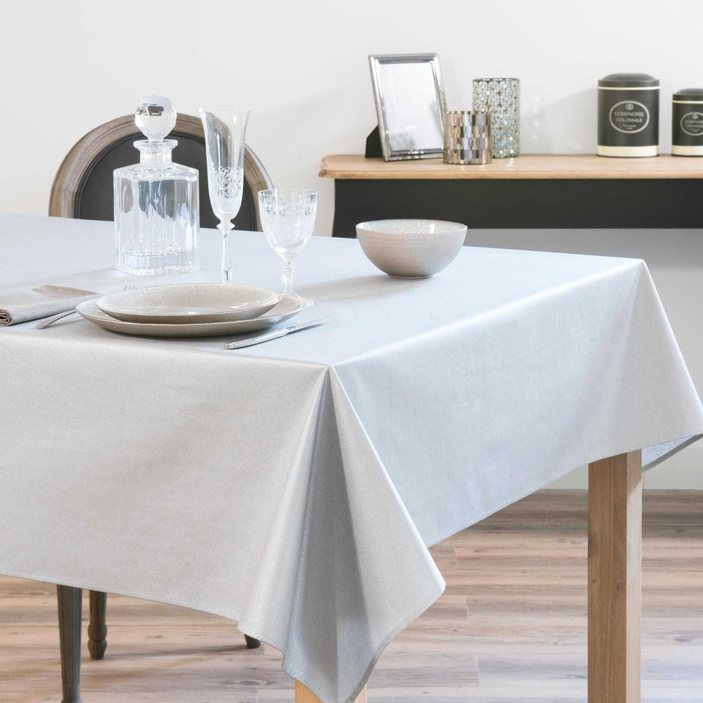 nappe enduite argent 140 x 250 cm mirage maisons du monde. Black Bedroom Furniture Sets. Home Design Ideas