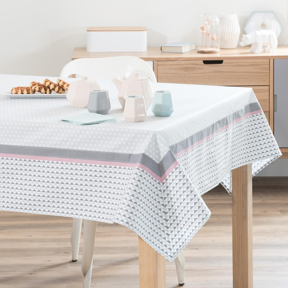 nappe enduite carr e en coton 150 x 150 cm emma maisons du monde. Black Bedroom Furniture Sets. Home Design Ideas