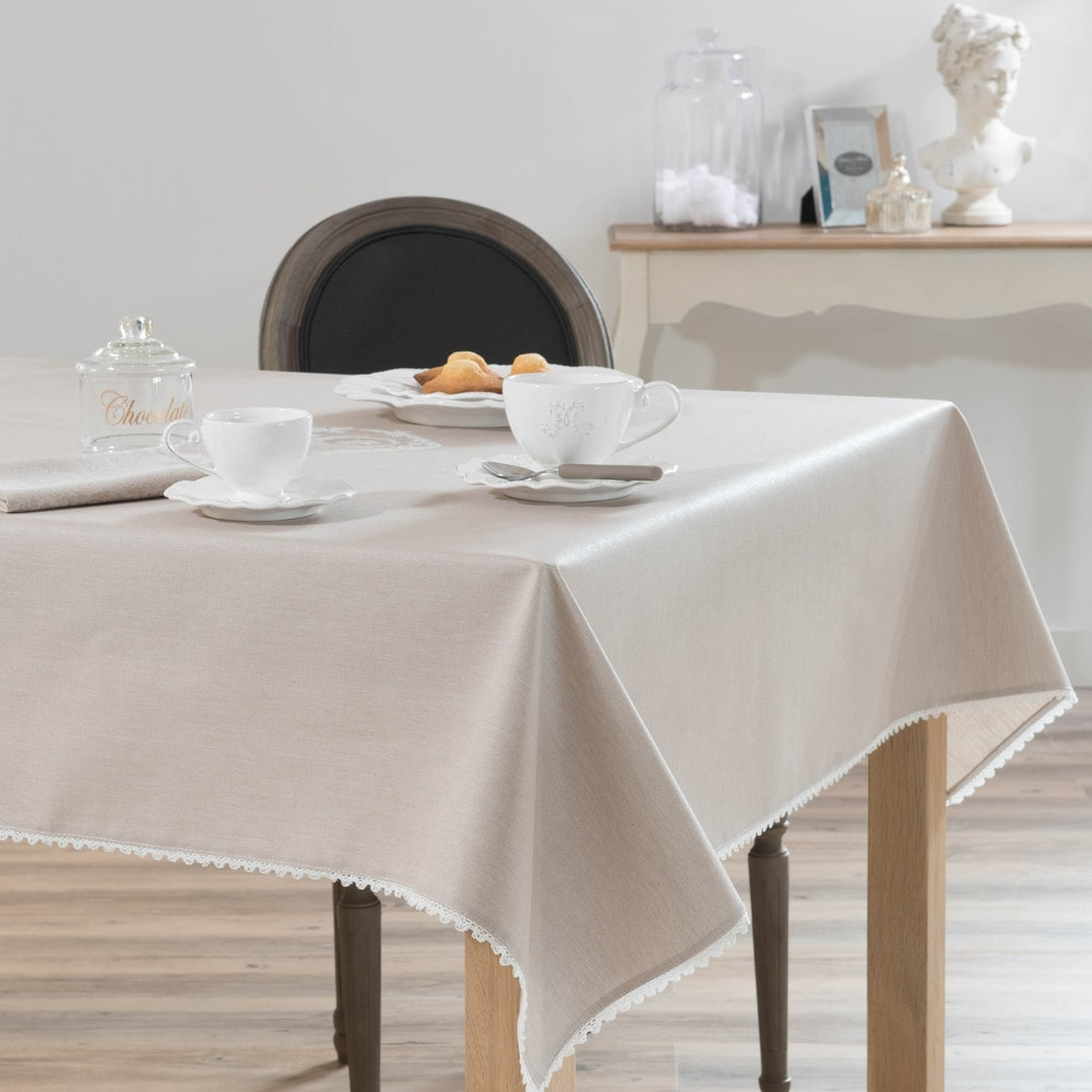 nappe enduite en coton beige 140 x 140 cm camille maisons du monde. Black Bedroom Furniture Sets. Home Design Ideas