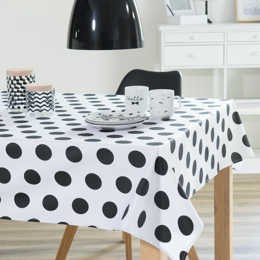 nappe enduite en coton blanche noire 140 x 250 cm dotty maisons du monde. Black Bedroom Furniture Sets. Home Design Ideas