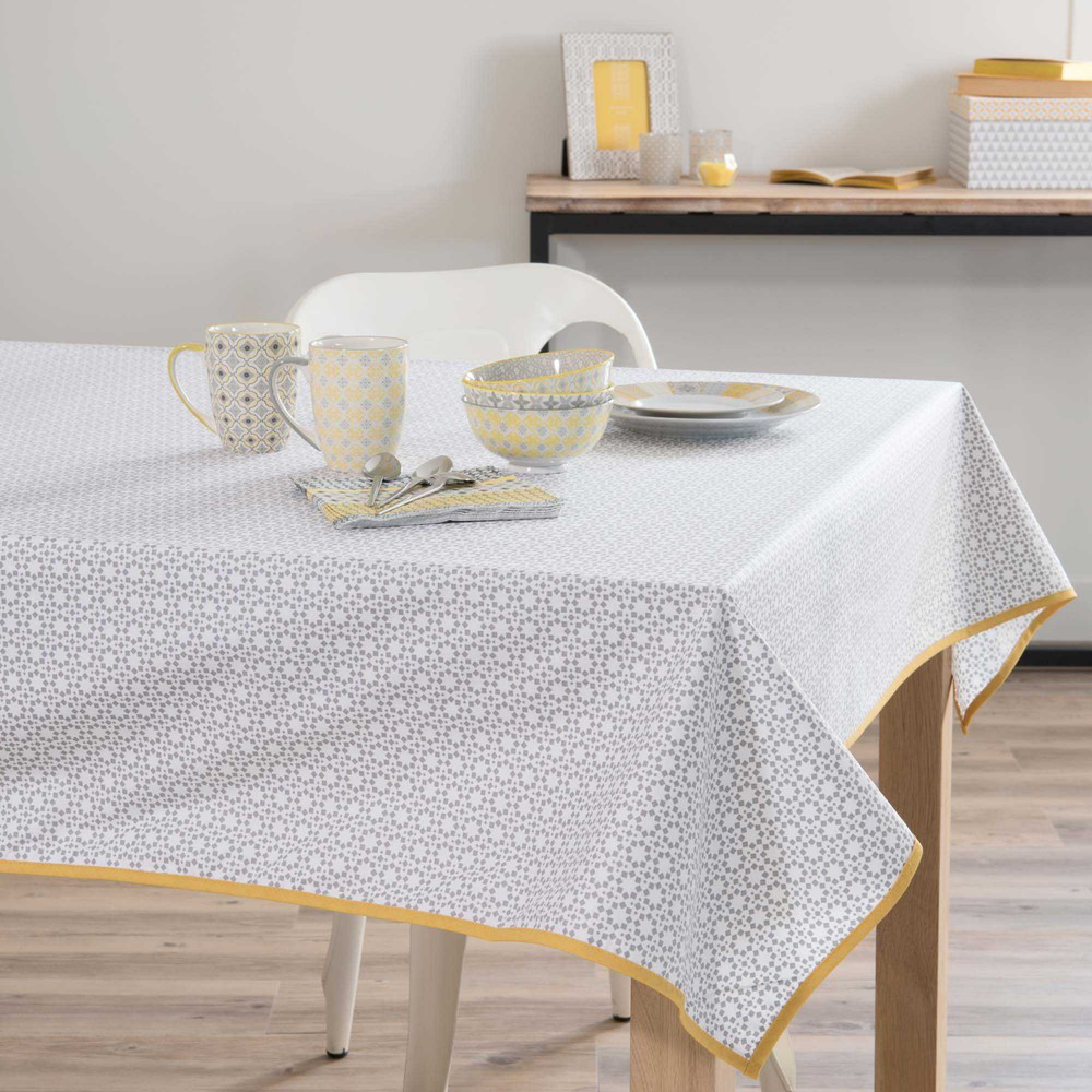 nappe enduite en coton grise jaune 140 x 180 cm portimao maisons du monde. Black Bedroom Furniture Sets. Home Design Ideas