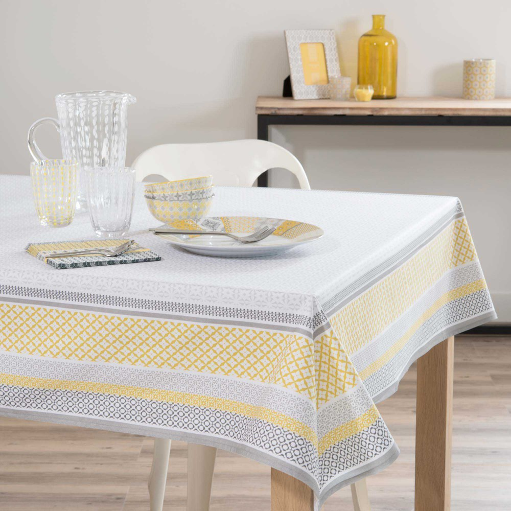 nappe enduite en coton jaune blanche 170 x 170 cm faro. Black Bedroom Furniture Sets. Home Design Ideas
