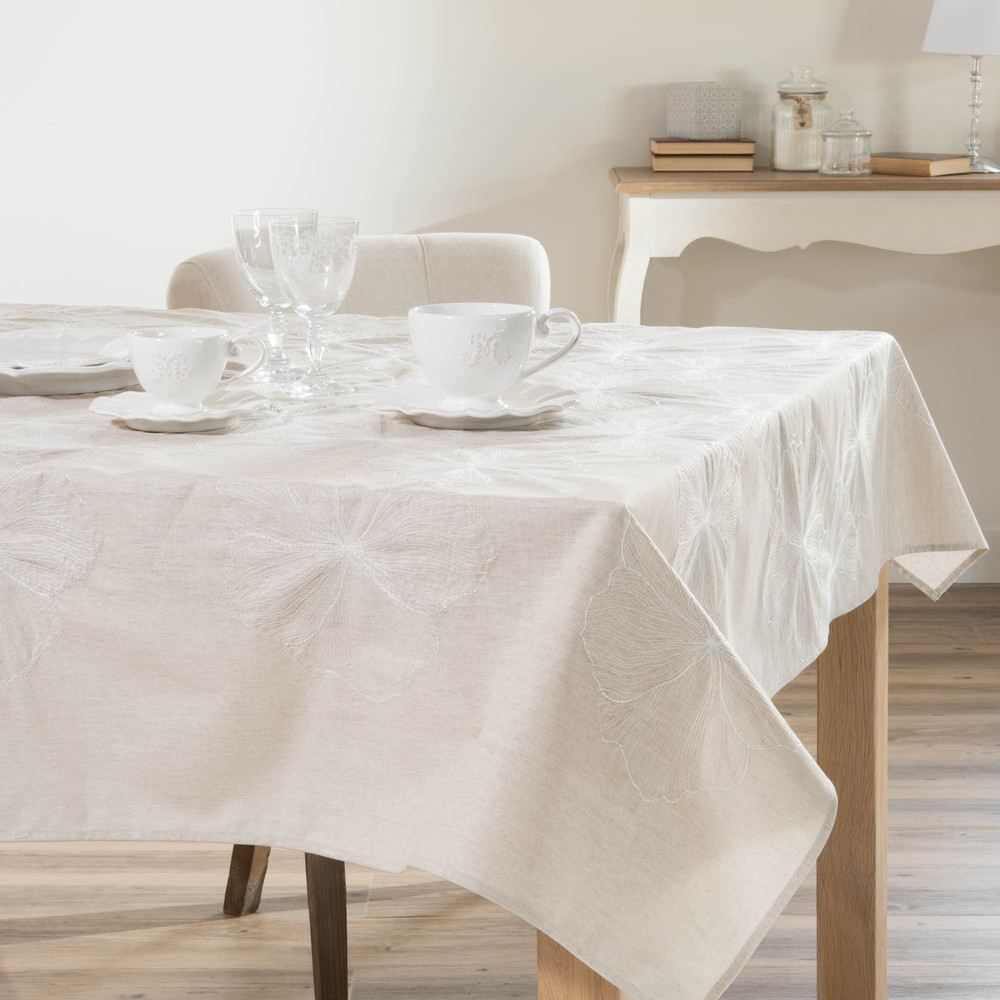nappe enduite en lin beige 140 x 250 cm alo maisons du monde. Black Bedroom Furniture Sets. Home Design Ideas