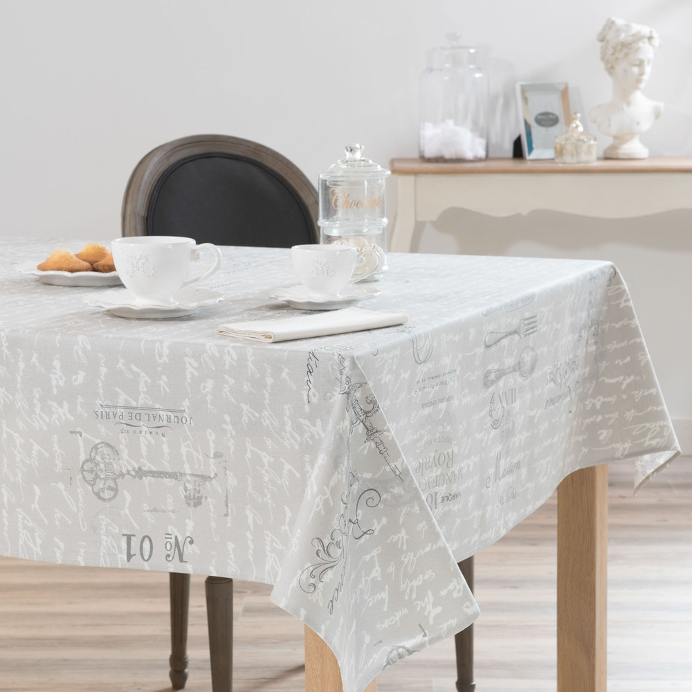 nappe enduite en lin grise 140 x 250 cm manufacture royal maisons du monde. Black Bedroom Furniture Sets. Home Design Ideas