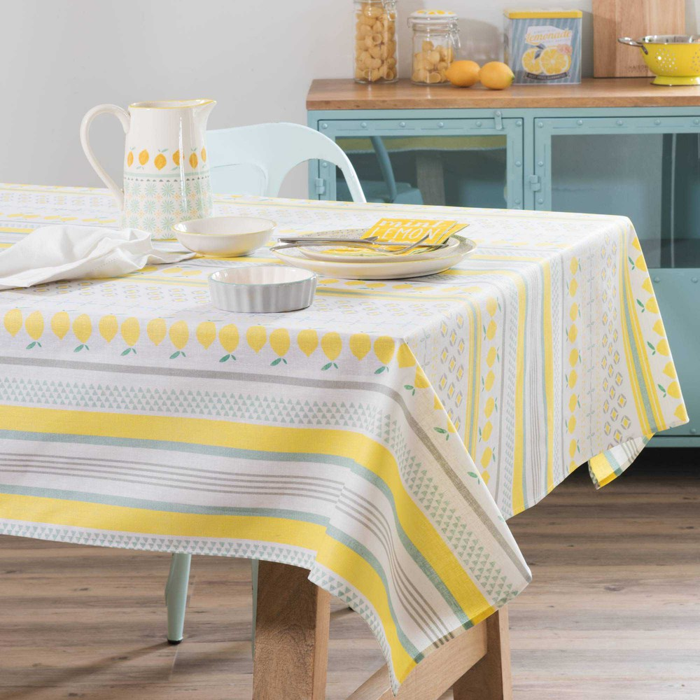 nappe enduite motifs citrons 140x250cm lemon maisons du. Black Bedroom Furniture Sets. Home Design Ideas