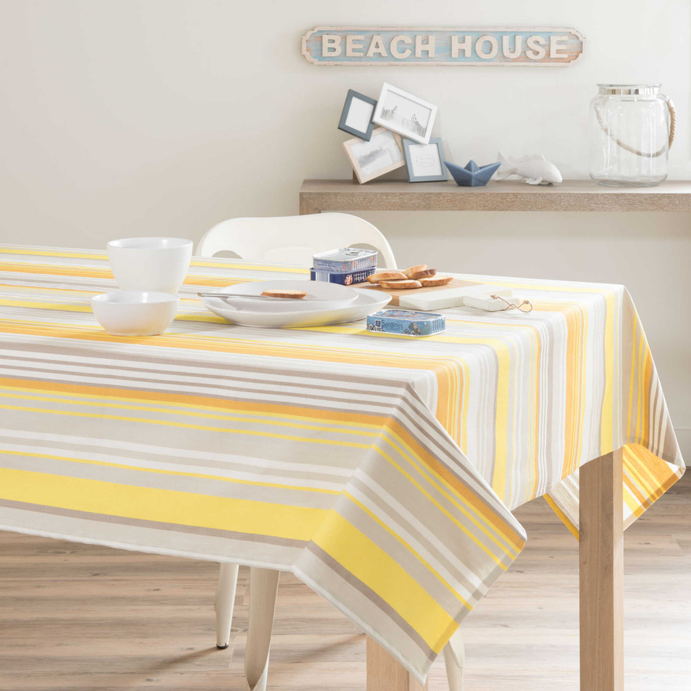 nappe enduite ray e en coton jaune gris 150 x 350 cm porto maisons du monde. Black Bedroom Furniture Sets. Home Design Ideas