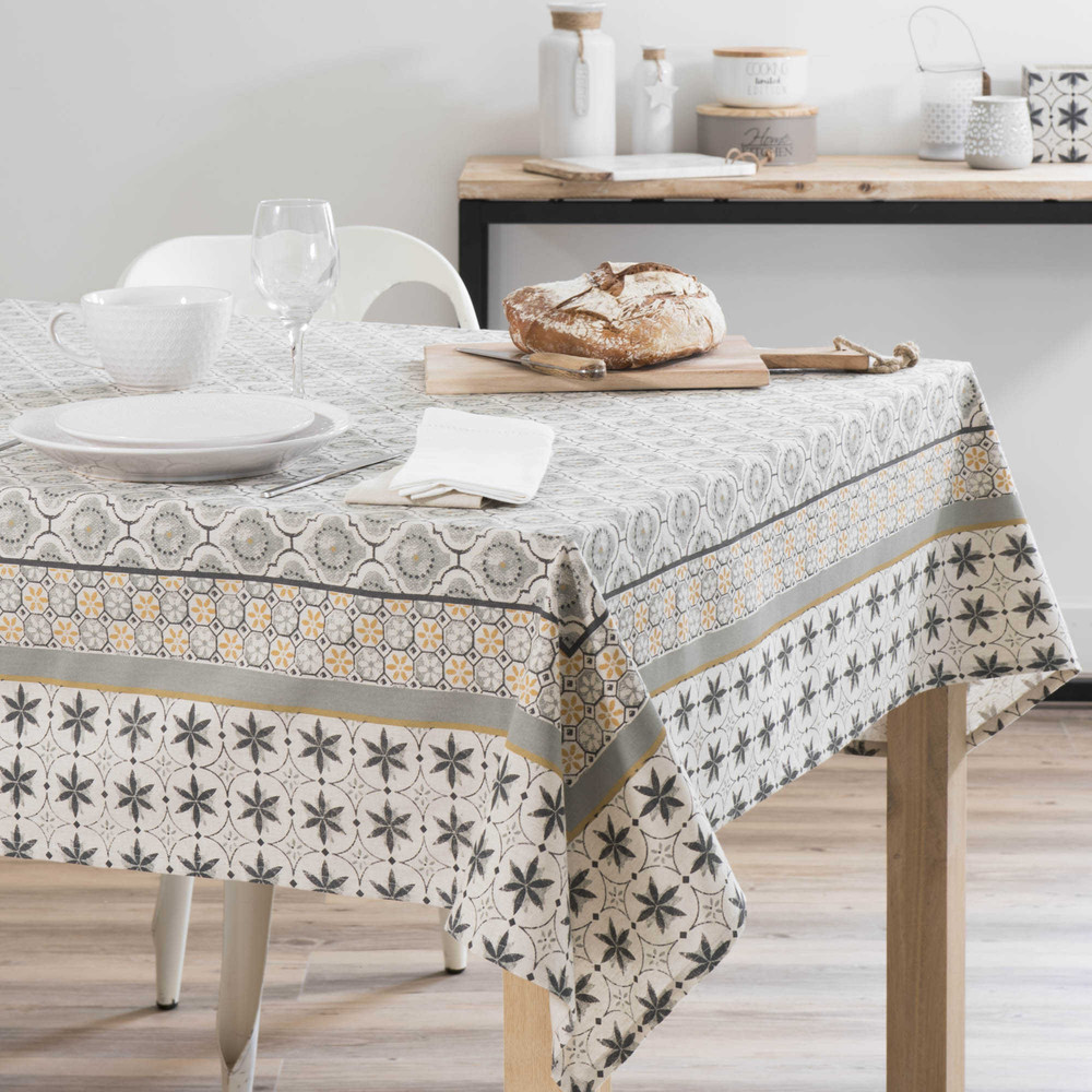 nappe rectangulaire 100 coton avec imprim s 150x250 cm noranda maisons du monde. Black Bedroom Furniture Sets. Home Design Ideas