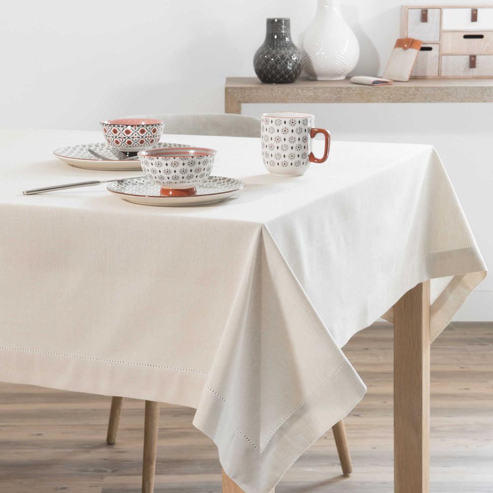 nappe unie en coton beige 150 x 350 cm maisons du monde. Black Bedroom Furniture Sets. Home Design Ideas