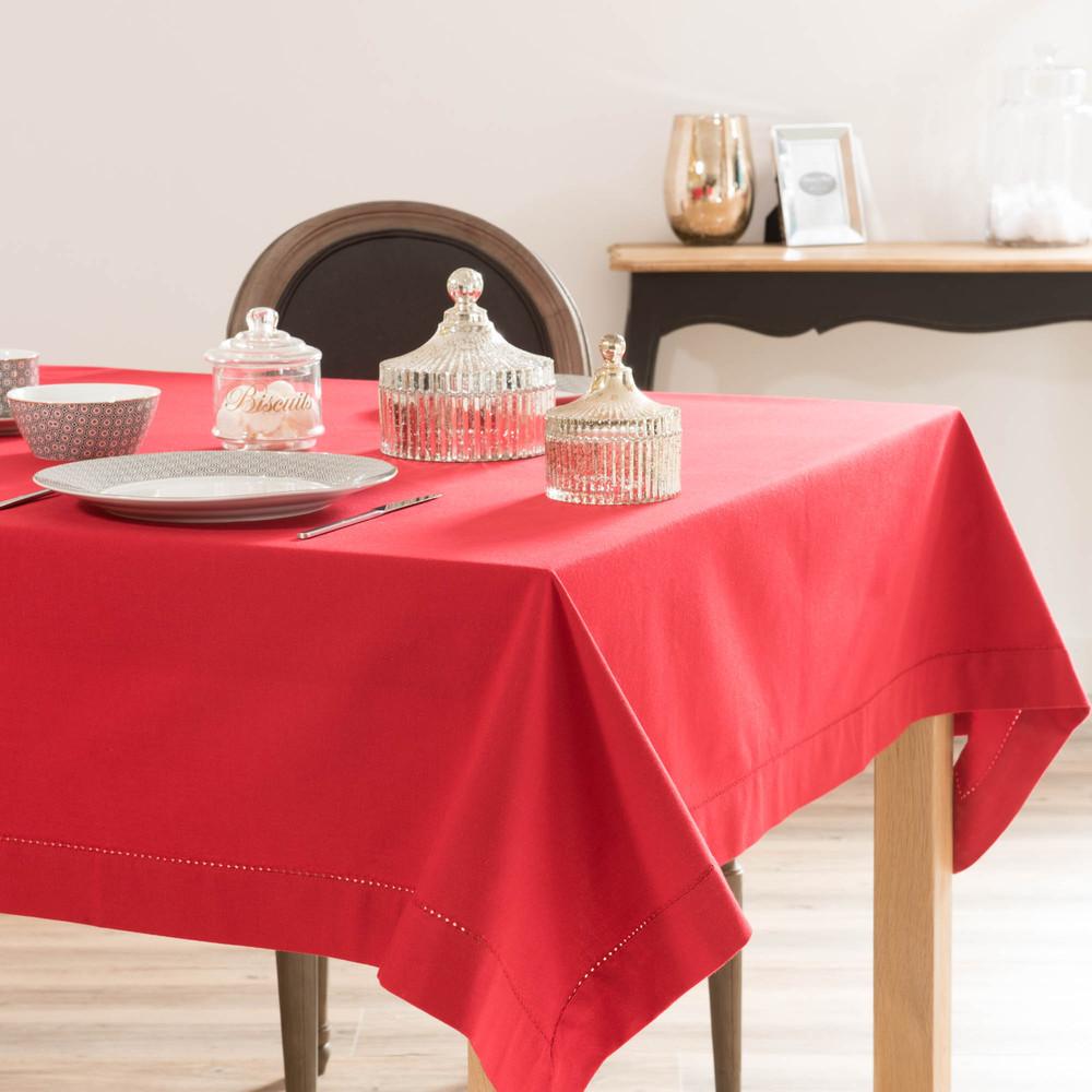 nappe unie en coton rouge 150 x 350 cm maisons du monde. Black Bedroom Furniture Sets. Home Design Ideas