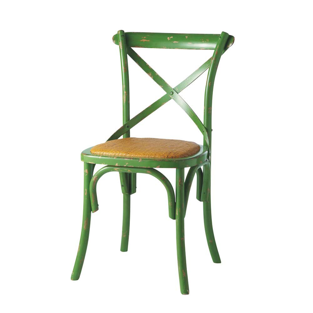 natural rattan and wood chair in anise green tradition