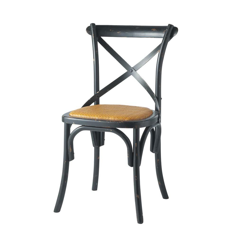 Naturel rotan en zwart houten stoel tradition maisons du monde - Houten tafel en stoel ...
