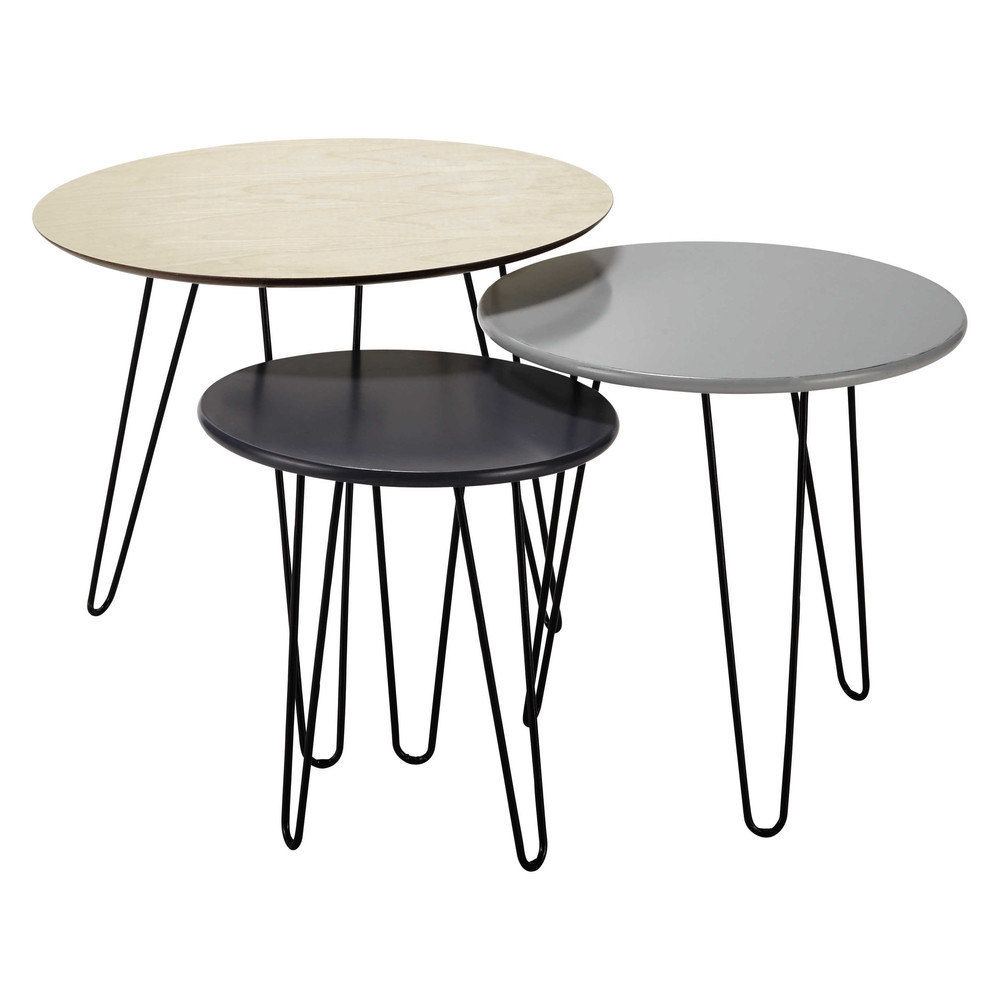 Nest of 3 coffee tables w 40 60cm graphik maisons du monde - Tables basses gigognes ...