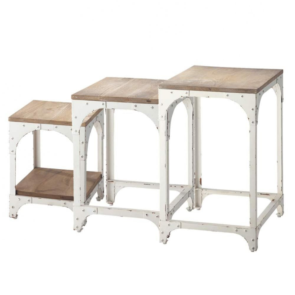 nest of 3 metal side tables in white w 55cm arcachon maisons du monde