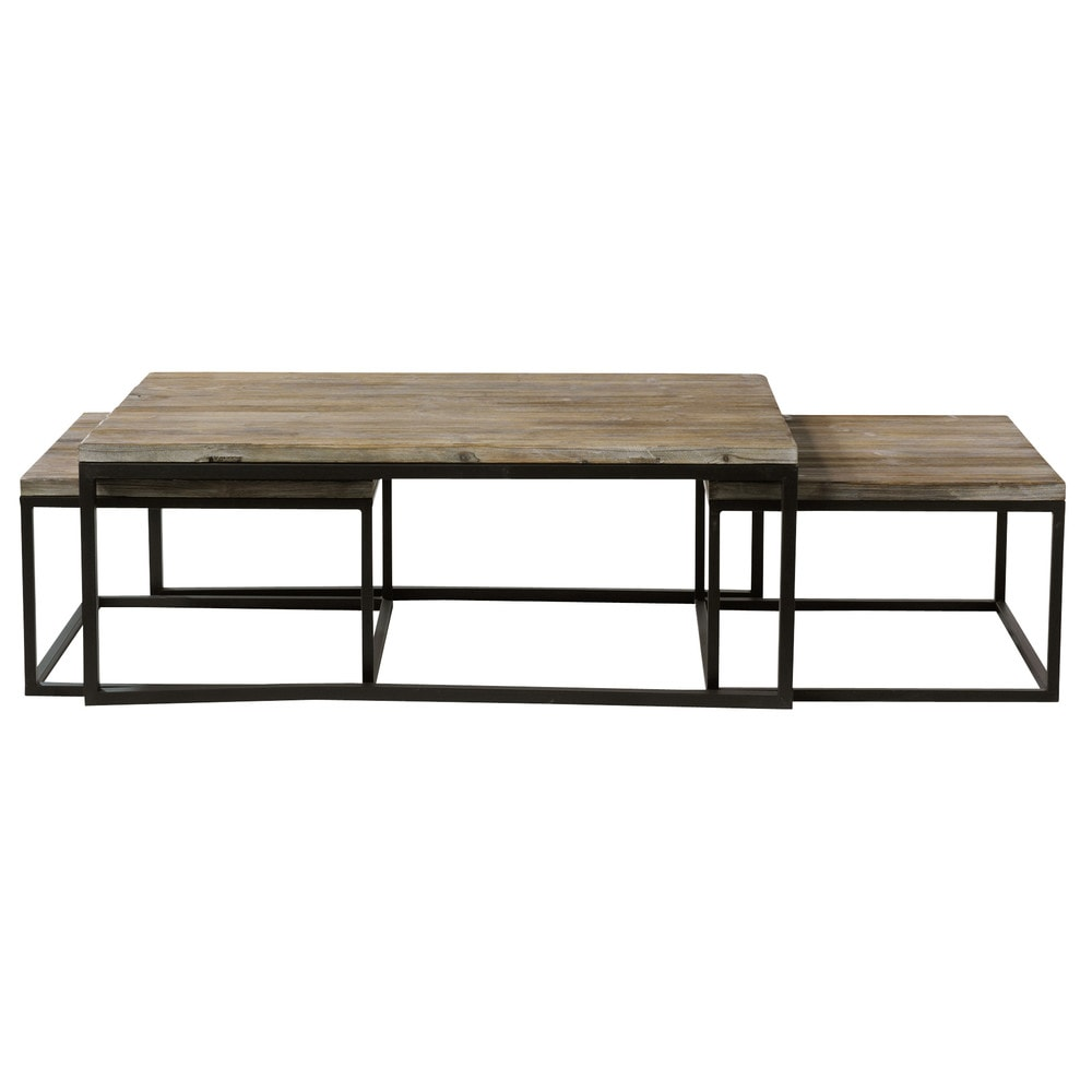 Nest of 3 solid fir and metal industrial coffee tables for Tables basses maison du monde