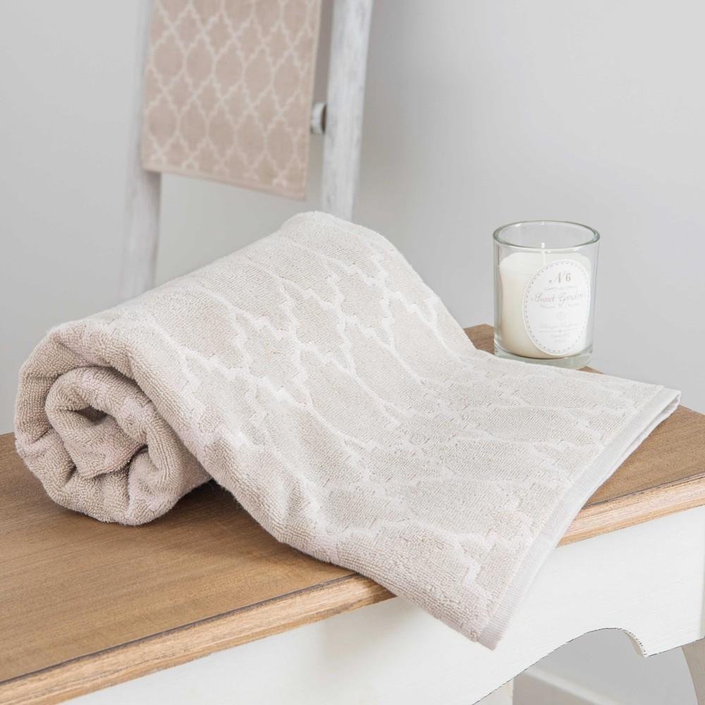 Nestor Patterned Beige Bath Towel 30 X 50 Cm Maisons Du Monde