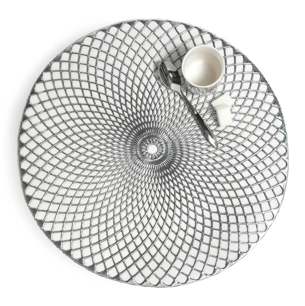 Noho round placemat in silver d 38cm maisons du monde - Set de table rond plastique ...