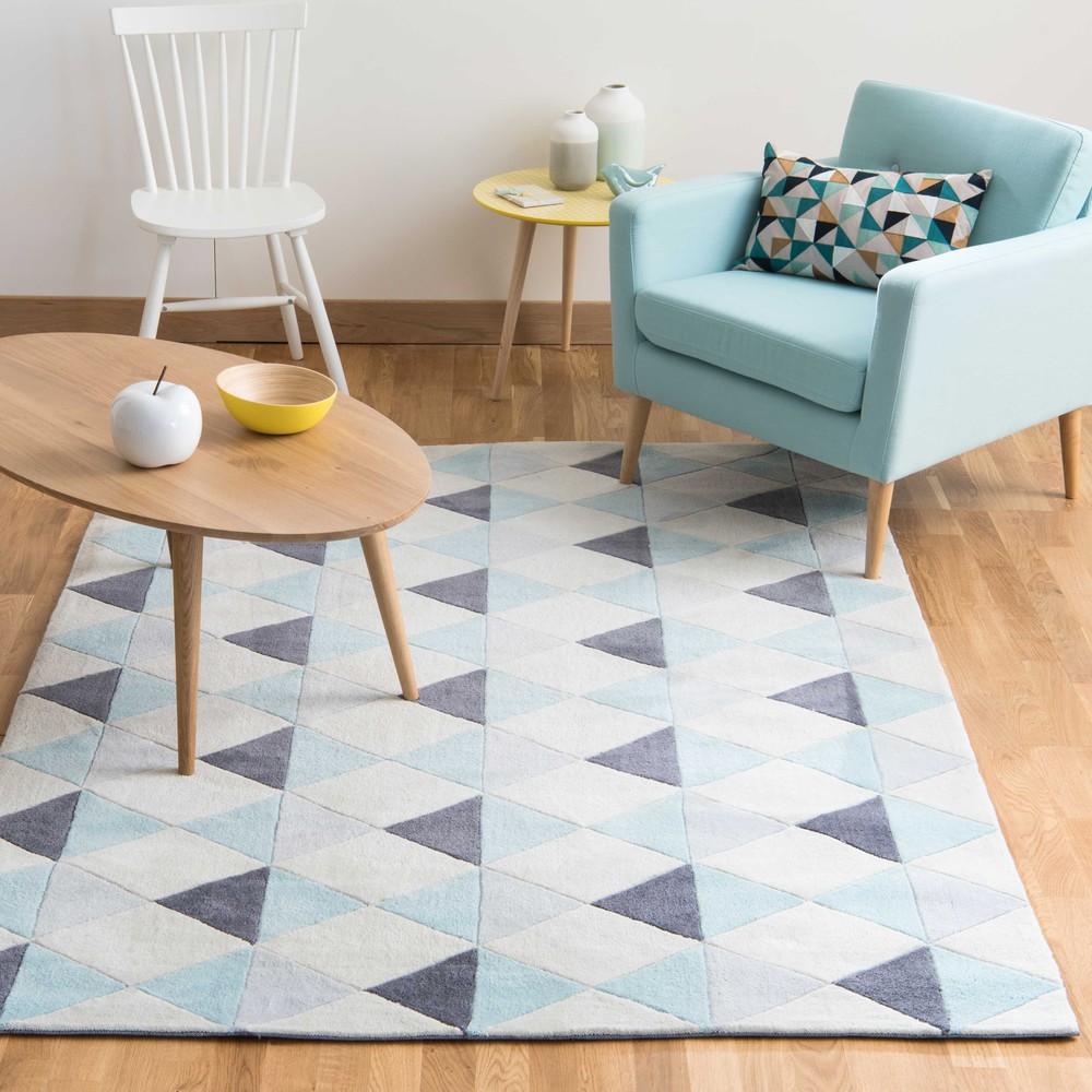 Nordic low pile rug in blue 140 x 200cm maisons du monde for A poil a la maison