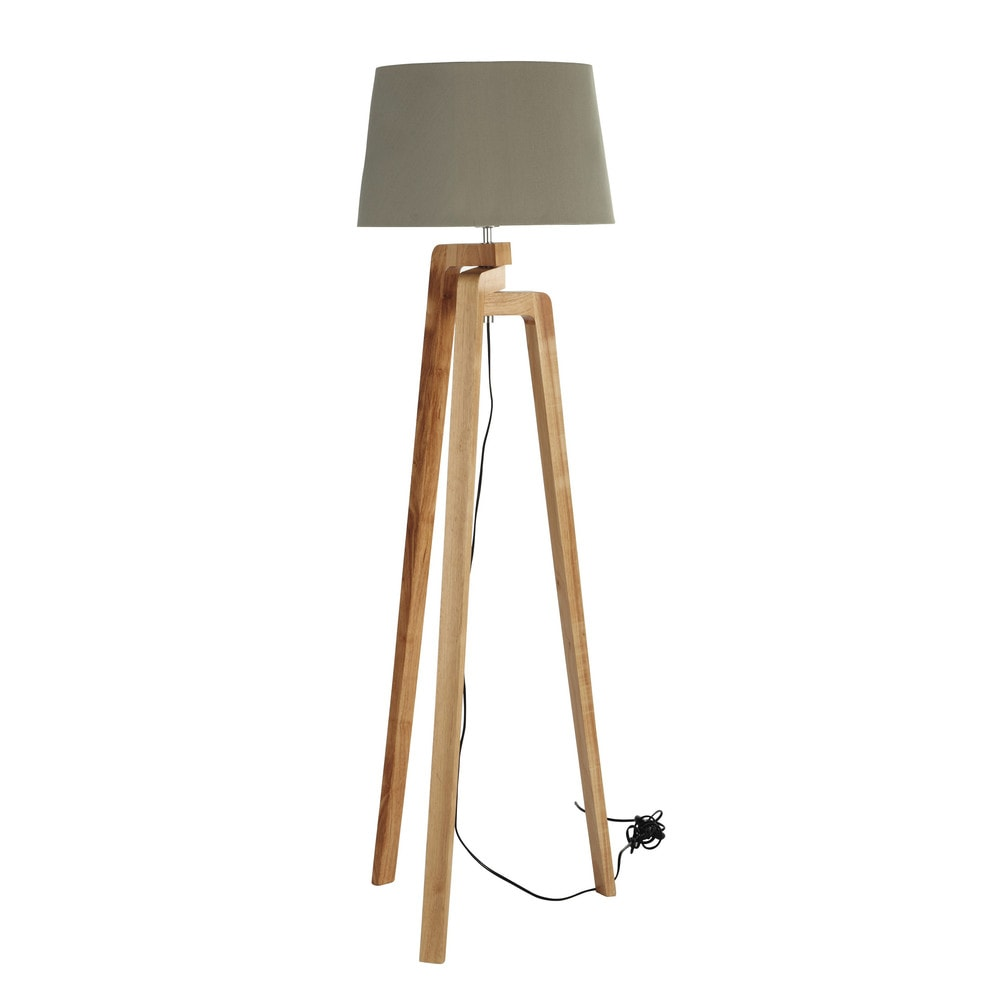 Nordic Tripod Floor Lamp Wood And Cotton H 150cm Maisons Du Monde