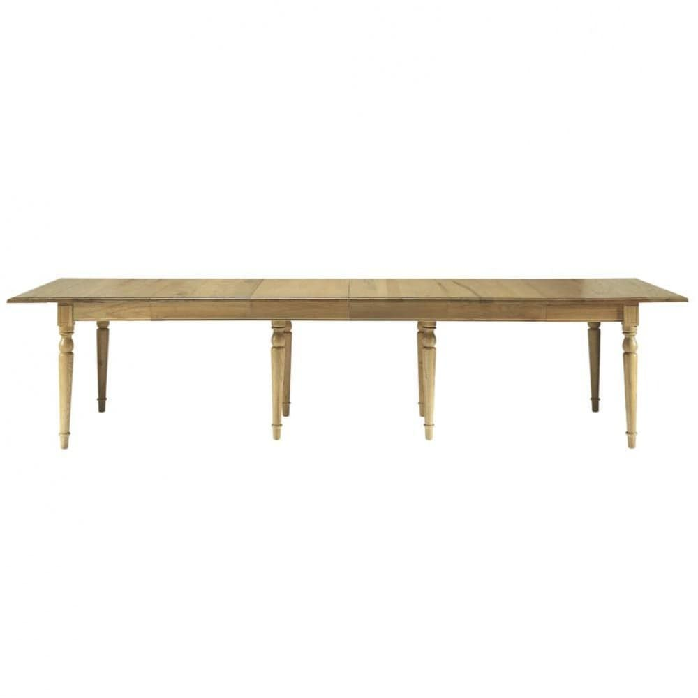 Oak extendible 4 14 seater dining table w 100 340cm for 14 seater dining table