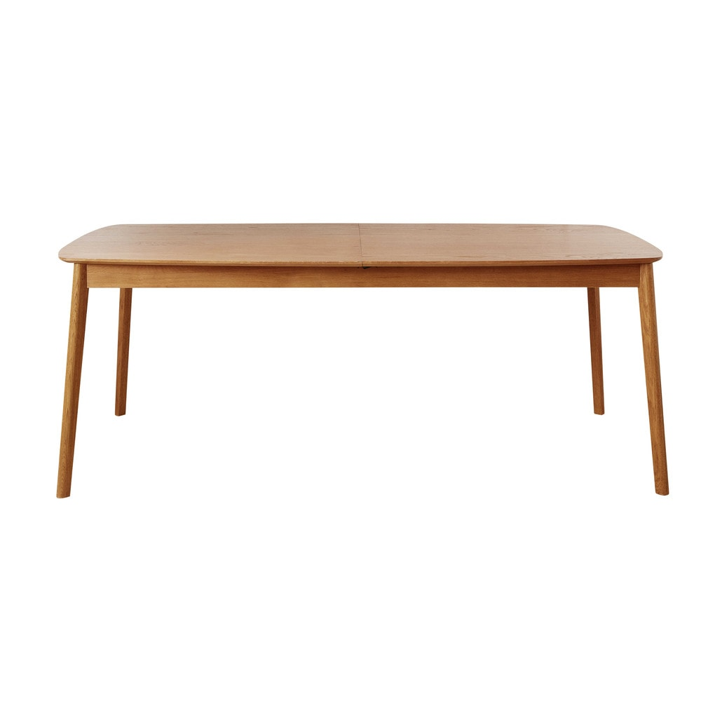 Oak extendible 8 12 seater dining table w 200 300 cm portobello maisons du monde for Table 300 cm