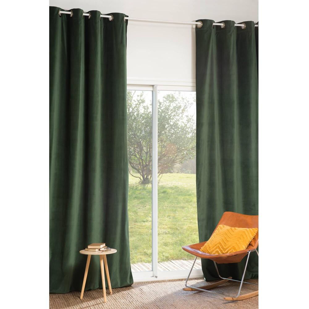 senvorhang for t aus samt 140 x 300 cm gr n maisons du monde. Black Bedroom Furniture Sets. Home Design Ideas