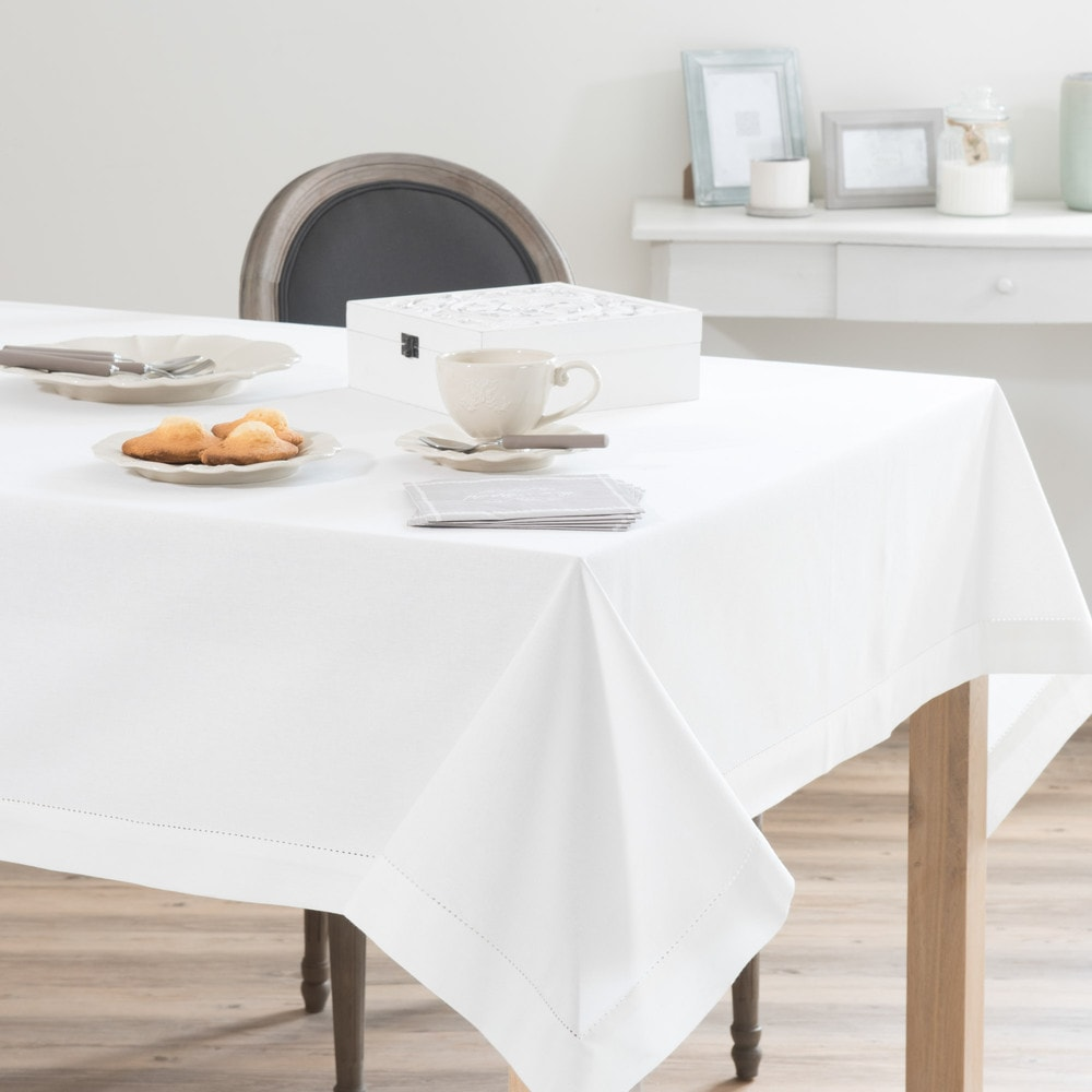 Off White Cotton Tablecloth 150 X 250 Cm