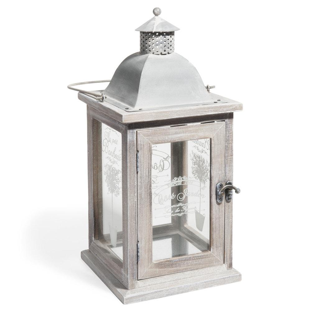 OLIVIER whitewashed wood lantern H 36cm
