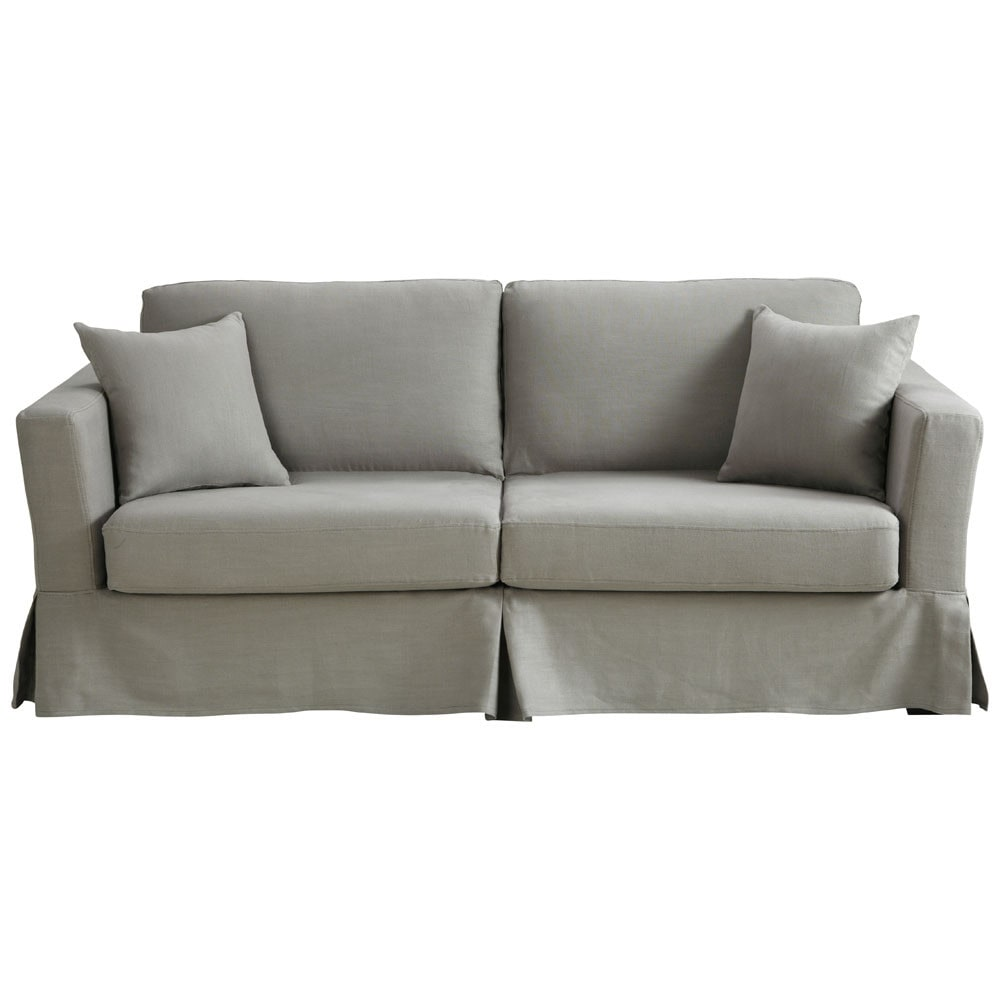 omvormbare zitbank met 3 plaatsen linnen lichtgrijs. Black Bedroom Furniture Sets. Home Design Ideas