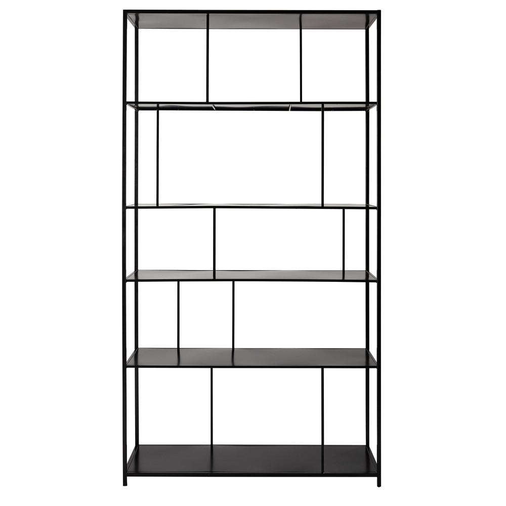 open kast met vakken zwart metaal breedte 107 cm simply maisons du monde. Black Bedroom Furniture Sets. Home Design Ideas