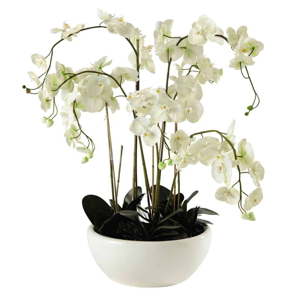 Orchid e artificielle en pot h 98 cm flora maisons du monde - Arrosage orchidee en pot ...