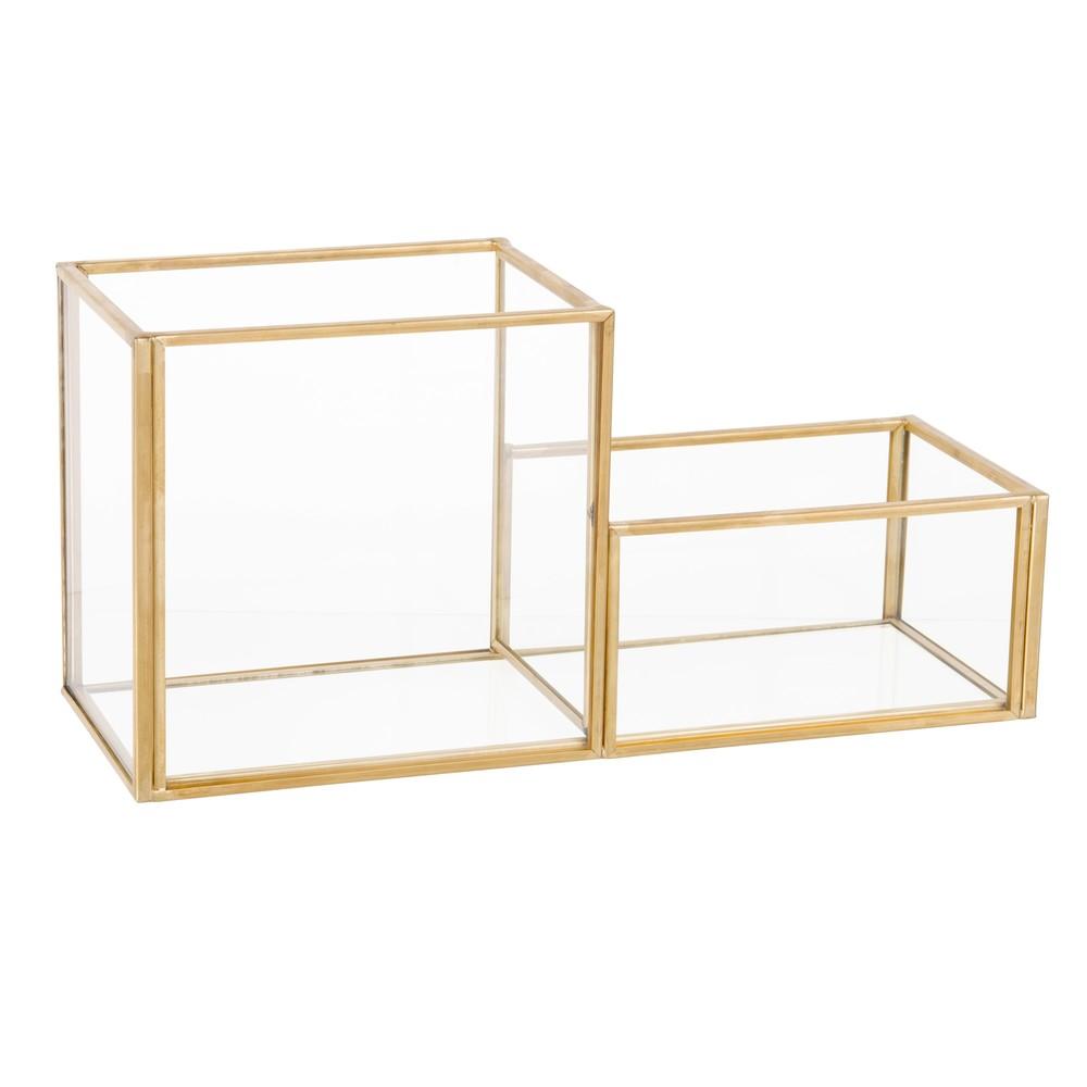 organisateur bureau en verre et m tal dor maisons du monde. Black Bedroom Furniture Sets. Home Design Ideas