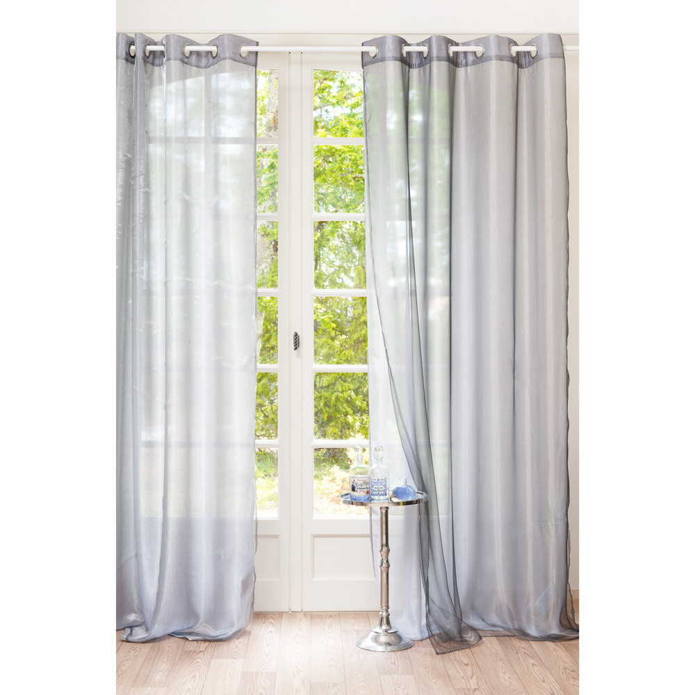 organza grey double eyelet curtain 140 x 250 cm maisons. Black Bedroom Furniture Sets. Home Design Ideas