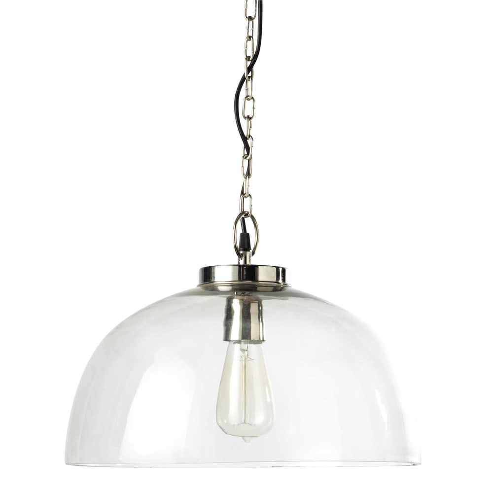 OSTENDE Glass And Chrome Metal Pendant Lamp W 39cm