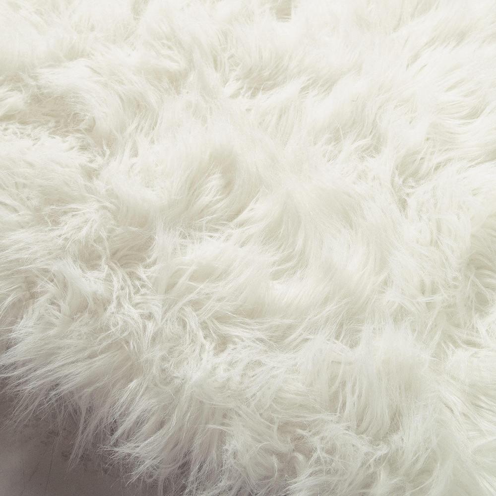OUMKA Faux Fur Rug In White 80 X 200cm