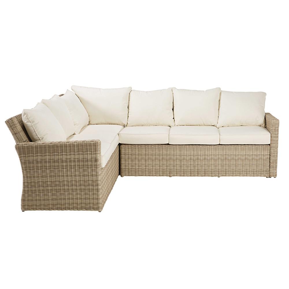 outdoor ecksofa aus geflochtenem harz beige mit. Black Bedroom Furniture Sets. Home Design Ideas